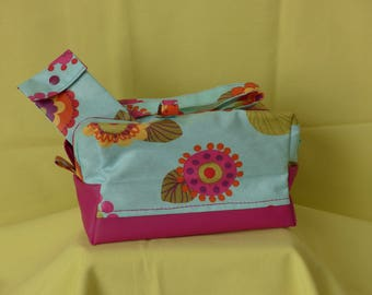 bathroom vanity or lunch bag, floral laminated cotton fabric and faux fuchsia
