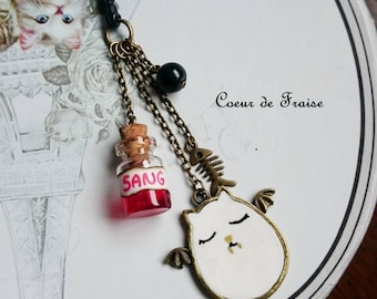 Polymer clay Fimo blood vial and vampire cat phone charm