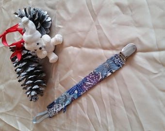 Liberty Blue and purple pacifier clip