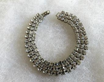 Vintage Clear Paste  Rhinestone Three Rowed Clasped Bracelet, Bridal Jewlelry