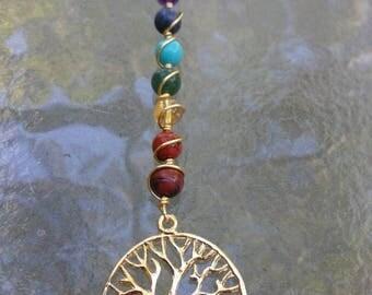 7 Chakras Tree Of Life Pendant , Chakra Healing Jewelry