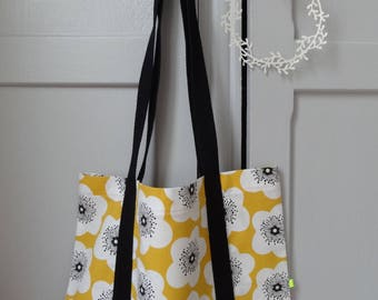 "The essential tote bag ""Flower Power"" yellow, white and black!"