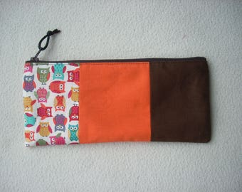 Bag fabric way patchwork, orange, Brown and OWL pattern. Gift card holder for various purposes