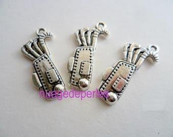 3 caddy golf club charms Tibetan Silver Pendant