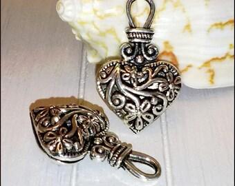 "1 pendant charm ""Heart 3D"" openwork pattern 31 x 19 mm antique silver Metal flower"