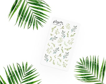 Greenery Stickerset-Watercolor sticker-pretty planning-scrapbooking-bullet journaling