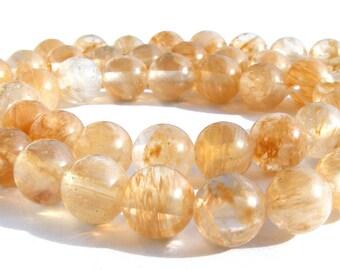 8 quartz de 8 mm perles pierre blanche et jaune, beige.