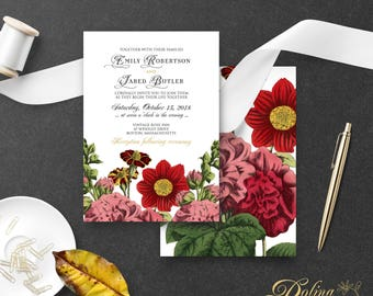 Garden Wedding Invitation Fall Rustic Printable Invite Botanical Flowers Wedding: Dahlia / Hollyhock / French-Marygold Wedding Template