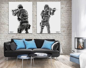 SWAT Poster, Police Officer photo, swat team, Law enforcement, Man cave art, Police gifts for him, fine art, wall art