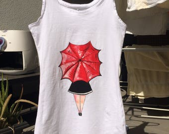 Hand Painted Red Umbrella Tank Top XS