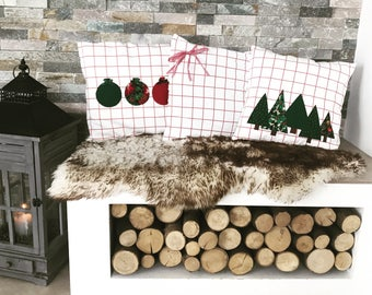 3 Pillow Covers Pillow Case size CA 40x37 cm Christmas threes set jersey, fir, Christmas tree balls, loop DIY unique stretchable