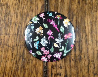 Colourful Floral Pocket Mirror 76mm
