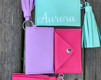 Coin Purse with Tassels Personalized with Tassels, 4x2.5 in., bridesmaid gift, birthday gift, teenager, keychain, pink, mint, purple