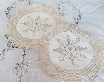Vintage Cushion Covers Embroidered Crochet Cushions Cottage Chic Decorative Pillow Covers set of 2 covers
