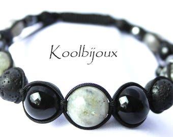 "Man how Labradorite gray hematite ""COLLECTION winter"" shambala bracelet"