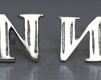 925 Sterling Silver Alphabet Letter N Initial Stud Earrings