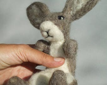 Rabbit, dwarf, or any other figure of 25 cm made of Rew sheep wool.