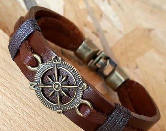 Man bracelets Compass Bracelet Leather Men Bracelets Leather Bracelet Gift, Anniversary Gift for Men Boy Gift