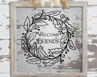 Welcome Friends Wreathe Decal