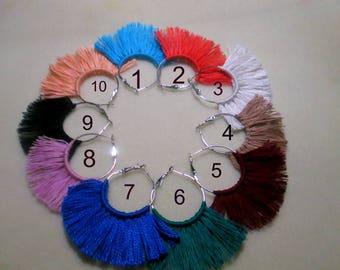 Multicolored colors/Hoop earrings/tessel hoop/Fringe earrings/statement tassel/Fun earrings/Boho style/Boho earrings