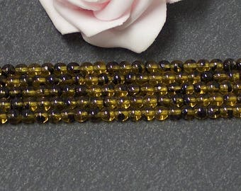 x 50 4 mm honey and black PTC320 round Czech glass beads