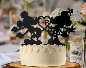 Personalized Mickey and Minnie Heart with Initials Wedding Cake Topper