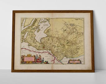 Old Map Dumbarton, Loch Lomond | Old Map of Trossachs, Dumbarton, Balloch, Ben Lomand, Tarbert, Fintry, Glasgow, Clydebank | Old Vintage Map