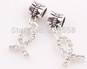 Pandora charm silver diamond cancer charity charm for all Pandora charm bracelets end of year sale limited stock