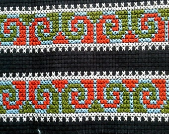 Twin cross stitch borders, Hmong Fabric Hill Tribe, Hmong Hill Tribe Embroidered, Thai Hill Tribe, Hmong Textile, Hill Tribe Handmade.