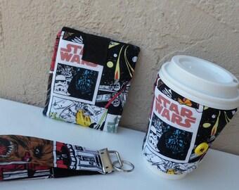 star wars gift set/bi-fold wallet star wars cozie set/star wars kefob gift/cozies/ wallet set/keychain gift set/coffee cozy/ gift for him