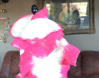 Winter pink & white merino wool scarf