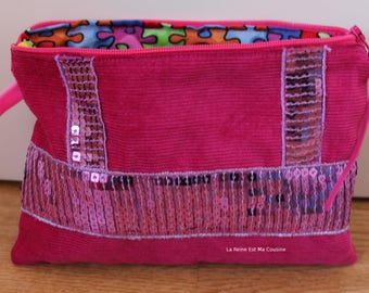 Fuchsia with lilac glitter velvet pouch