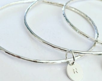 Personalised 2mm Silver Bangle