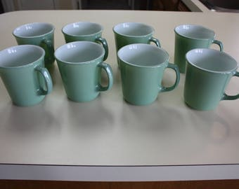Vintage Sage Green Pyrex Coffee Cups Set of Eight