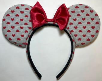 Gray with Red Hearts, Minnie Mouse Ears