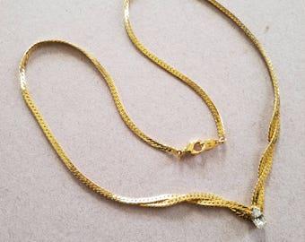Vintage Marquis Cut Goldtone 483 Herringbone Necklace.