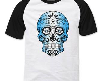 Sugar Skull, Blue and White Raglan sleeve T-shirt