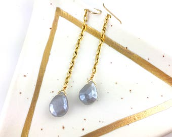 Gray Moonstone Long Dangle Drop Earrings, Fall Wedding, Great Bridesmaid Gift or Perfect for Boho Bridal Jewelry, Boutique Style Jewelry