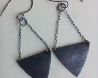 Recycled Copper Triangle-Dangles Earrings