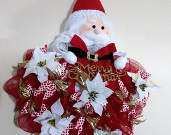 Santa Wreath Christmas Wreath Winter Wreath Deco Mesh with Santa Face