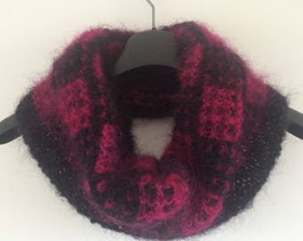 cowl, snood, scarf in mohair - hand knit