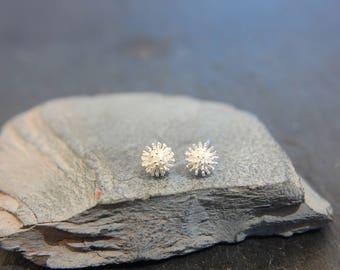 Hedgehog Ball Stud Earrings 925 silver Earrings disco ball hedgehog spikes