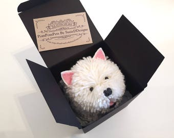 Pom Pom Westie West Highland Terrier Dog Handmade with British Wool Pom-pom Pets by SusieDDesigns Collectable Animal Gifts