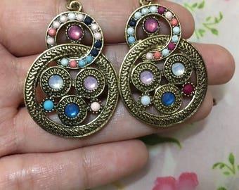 Multicolour Stone Embellished Drop Earrings