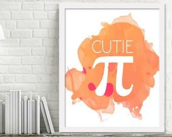 Orange Cutie Pi Nursery Wall Art, Cutie Pie Baby Pun, Orange Watercolor Nursery Print, Formula Pi, Pink Watercolor