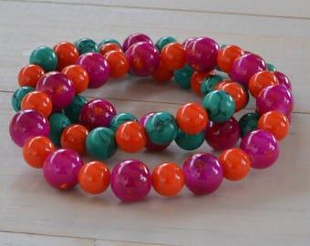 Pink, Orange, Green, bead bracelets,stacked bracelets, arm stack,jewlery, Stackable Bracelet Sets, Stretch Bracelets, Layering Bracelet