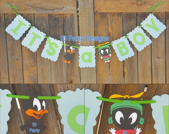 Lovely BABY LOONEY TUNES Banner Bugs Tweety Daffy Marvin The Martian Taz Looney  Tunes Birthday Baby Looney