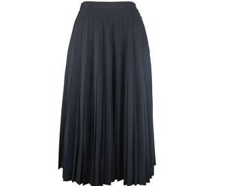 vintage pleated black midi skirt