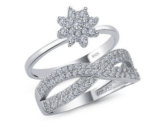 925 solid sterling silver round brilliant cut infinity design twin cz ring setcomfort fit - Infinity Wedding Ring Set
