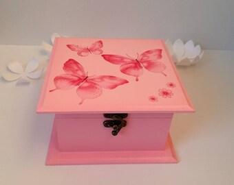 Girl Keepsake Box, Pink Butterfly Jewelry Box, Birthday Gift for Girl, Decorative Wooden Box, Girl Accessories Storage Box, Decoupage Box